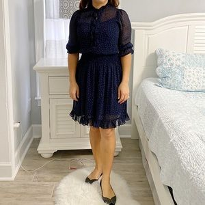 Gibson And Latimer Dress Navy Blue Polka Dot, SZ S